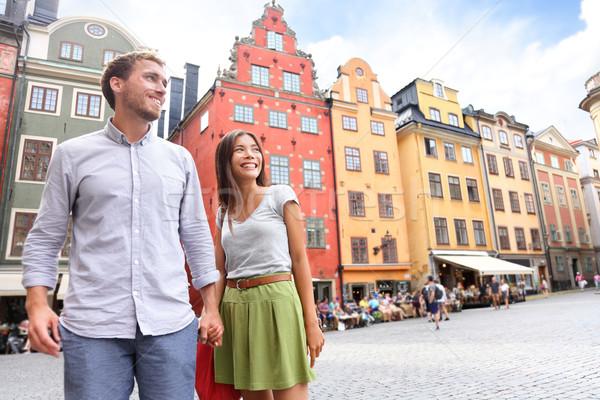 Para Sztokholm Szwecja Europie szczęśliwy Zdjęcia stock © Maridav