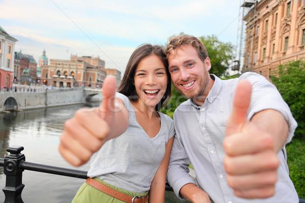 çift mutlu Stockholm İsveç heyecanlı Stok fotoğraf © Maridav