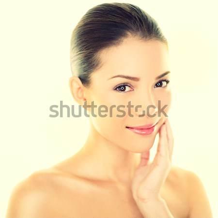 Stockfoto: Vrouw · schoonheid · aanraken · huid · gezicht