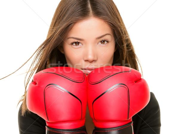 Zakenvrouw bokshandschoenen klaar strijd sterkte Stockfoto © Maridav