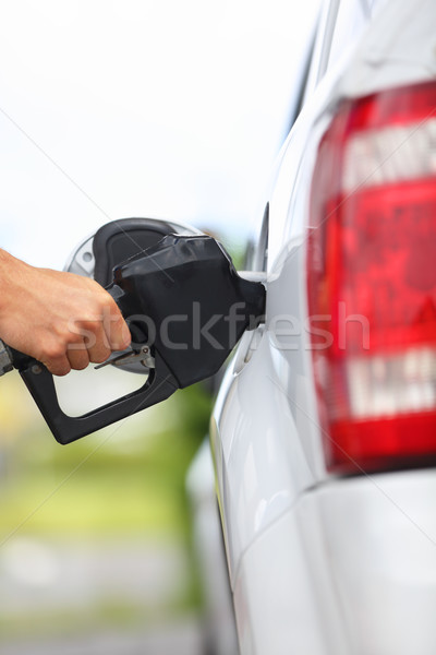 ストックフォト: ガソリンスタンド · ポンプ · 充填 · ガソリン · 車 · 男