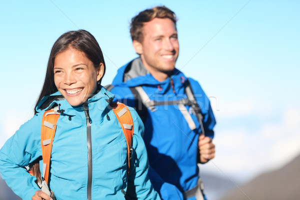 Hikers - hiking couple happy Stock photo © Maridav