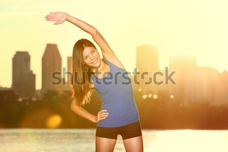 Runner drinkwater stad lopen Montreal vrouw Stockfoto © Maridav