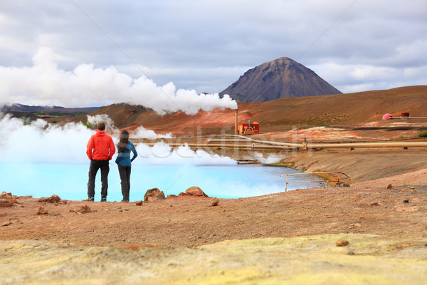 Iceland travel people by geothermal power plant Stock photo © Maridav
