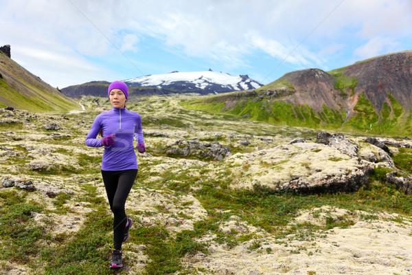 Athlete trail runner - running woman exercising Stock photo © Maridav