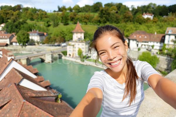 Travel selfie by woman in Bern Switzerland Stock photo © Maridav