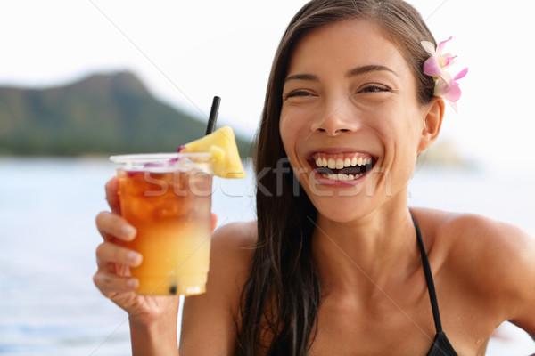 Hawaii woman drinking Mai Tai hawaiian drink Stock photo © Maridav
