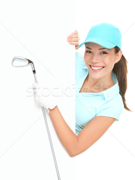 Golf sign - woman showing paper billboard Stock photo © Maridav
