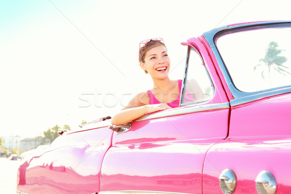 Vintage retro car woman Stock photo © Maridav