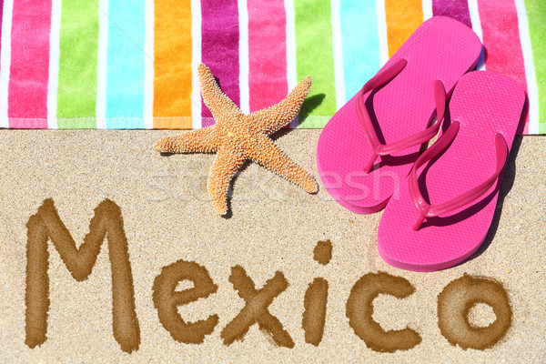 Foto stock: México · playa · viaje · escrito · arena · agua