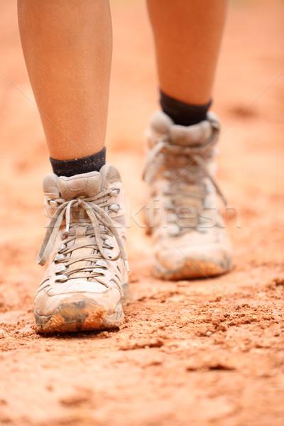 Hiking boots - close up of dirty hiker shoes Stock photo © Maridav