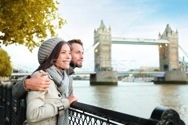 Londra Coppia Tower Bridge fiume thames felice Foto d'archivio © Maridav