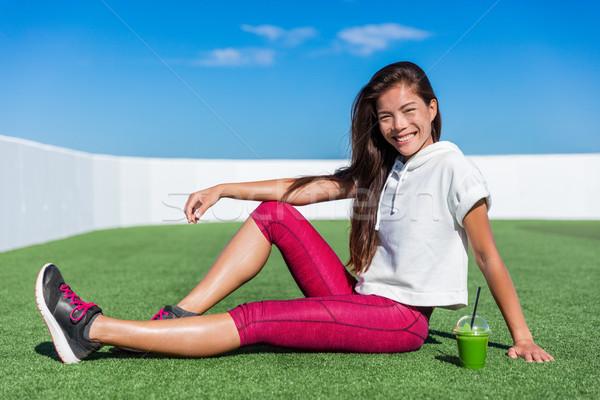 健康 フィットネス アジア 少女 飲料 グリーンスムージー ストックフォト © Maridav