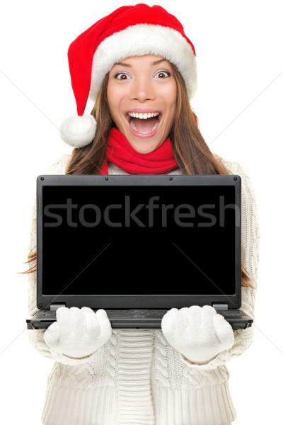 Foto stock: Natal · computador · mulher · caderno · animado