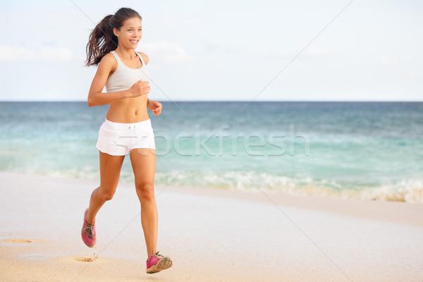 ストックフォト: 女性 · ランナー · ジョギング · ビーチ · を実行して · 訓練