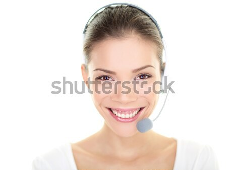 Obsługa klienta przedstawiciel zestawu kobieta mówić online Zdjęcia stock © Maridav