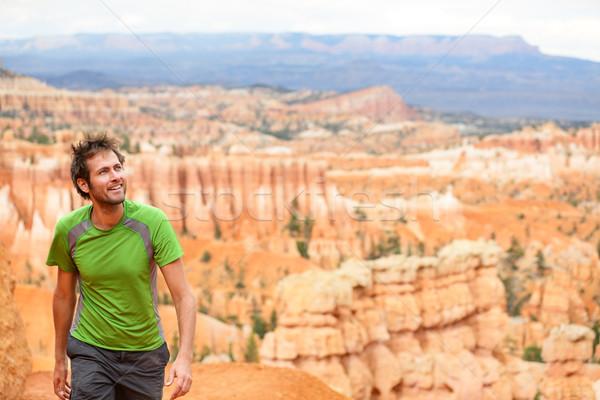 Hiker - man hiking in Bryce Canyon Stock photo © Maridav