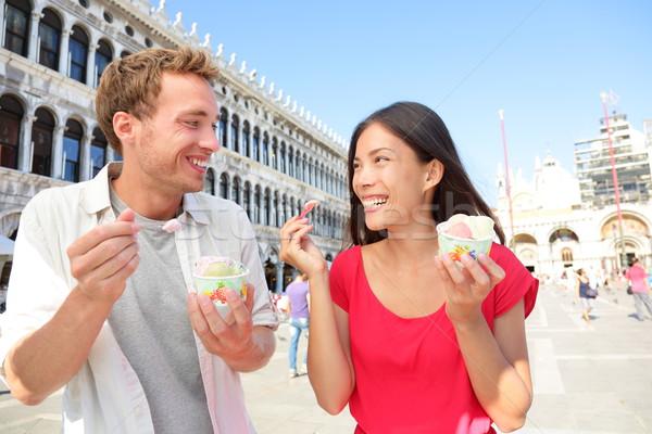 Couple eating ice cream on vacation, Venice, Italy Stock photo © Maridav