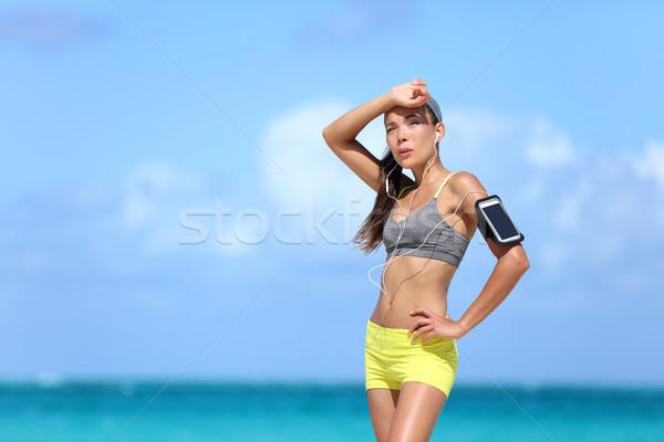 Fáradt női futó izzadás kardio testmozgás Stock fotó © Maridav