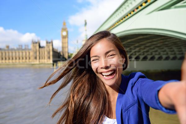 Mujer de negocios Big Ben Londres viaje alegre jóvenes Foto stock © Maridav