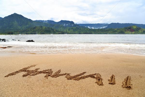 Hawaii word written on sand on hawaiian beach Stock photo © Maridav