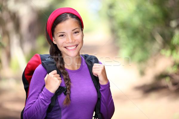 женщину походов лес женщины турист улыбаясь Сток-фото © Maridav
