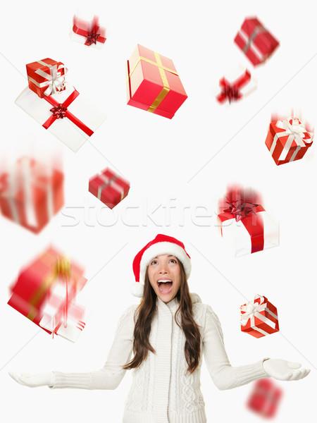 Karácsony mikulás nő esik az eső ajándékok zuhan Stock fotó © Maridav