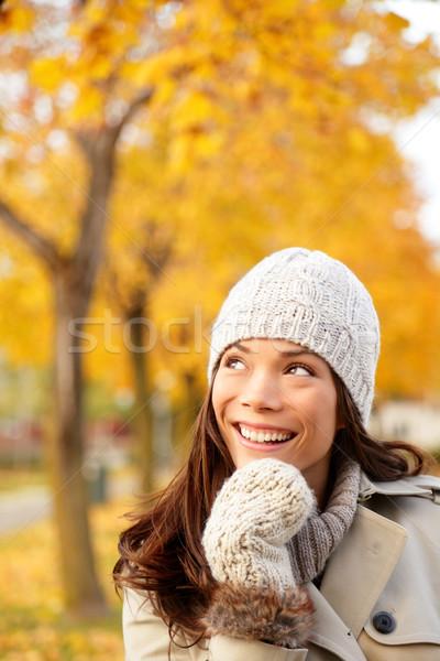 Fall woman thinking looking Stock photo © Maridav