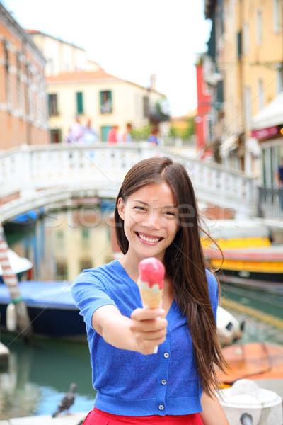 Ice cream eating woman in Venice, Italy Stock photo © Maridav