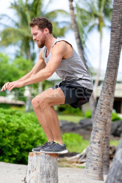 Fitness athlète banc Aller sautant à l'extérieur Photo stock © Maridav