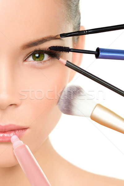 Makeover beauty transformation concept with makeup Stock photo © Maridav