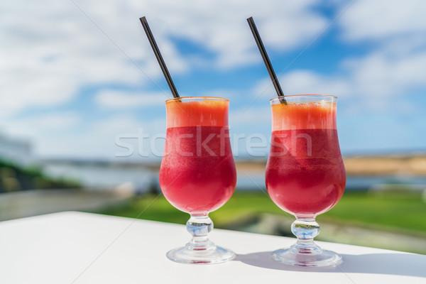 Healthy beet juice detox two glasses on cafe table Stock photo © Maridav