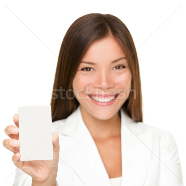 Sign card woman on white Stock photo © Maridav