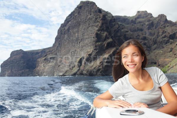 Woman on boat sailing looking at ocean Stock photo © Maridav