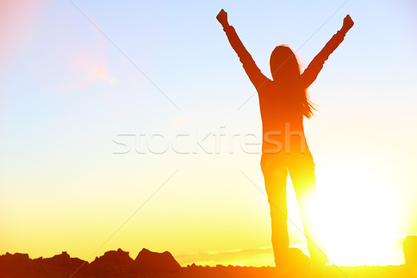 Happy celebrating winning success woman sunset Stock photo © Maridav