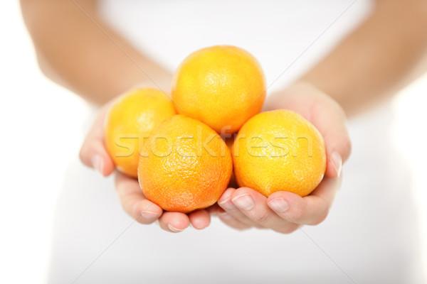 Vrouw mandarijn- oranje variëteit sinaasappelen citrus Stockfoto © Maridav