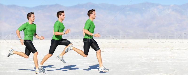 Athlete running man - runner in speed Stock photo © Maridav