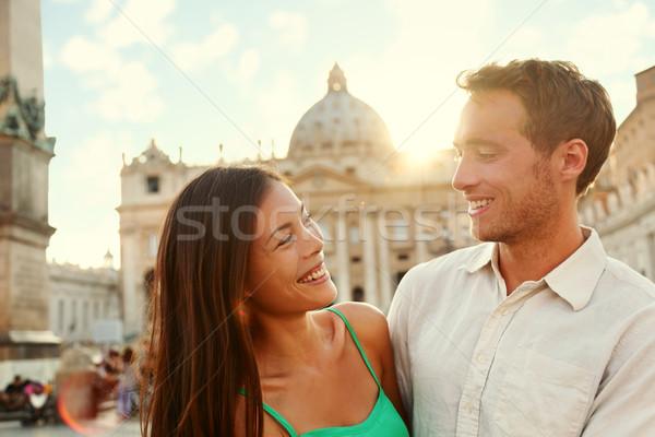 Romantikus pár szerelmespár naplemente Vatikán Olaszország Stock fotó © Maridav