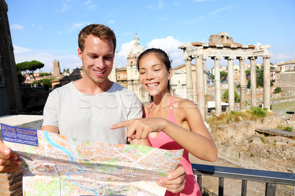 Tourists holding map by Roman Forum, Rome, Italy Stock photo © Maridav