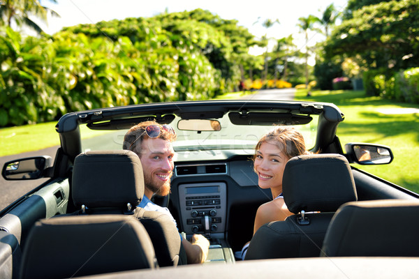 Happy couple in car on summer road trip travel Stock photo © Maridav