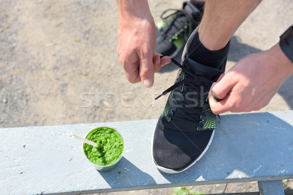 Smoothie vert courir Homme coureurs Photo stock © Maridav
