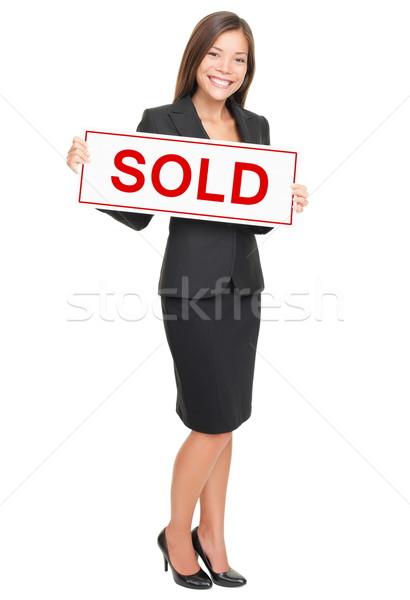 Makelaar geïsoleerd witte tonen uitverkocht teken Stockfoto © Maridav