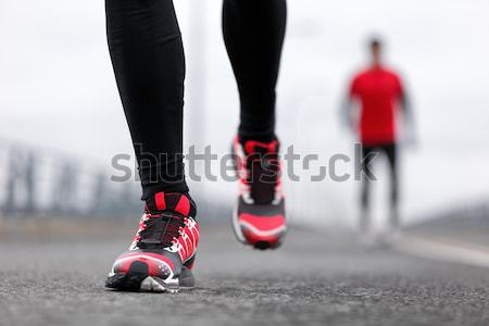 Running shoes in snow Stock photo © Maridav