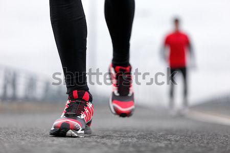 Tênis de corrida neve metal caminhada Foto stock © Maridav