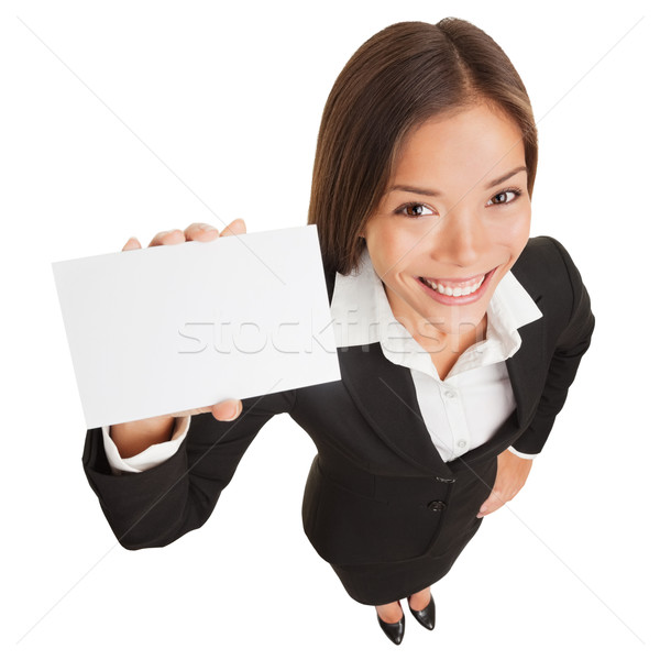 Business woman showing blank card sign Stock photo © Maridav