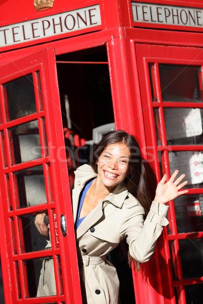Londen Rood telefoon kraam vrouw Stockfoto © Maridav