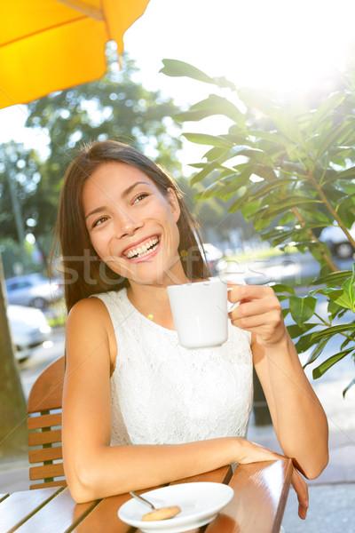Woman drinking coffee at cafe Stock photo © Maridav