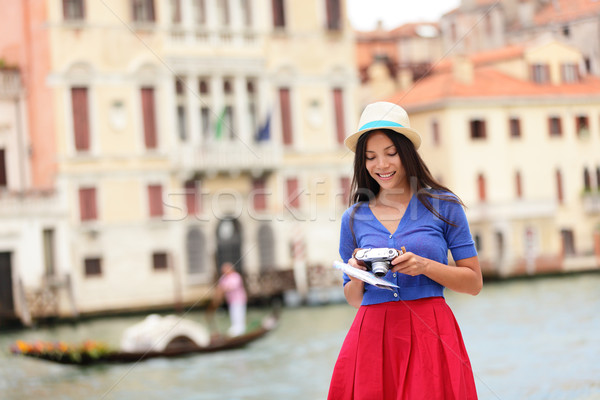 Italy travel - young woman tourist in Venice canal Stock photo © Maridav