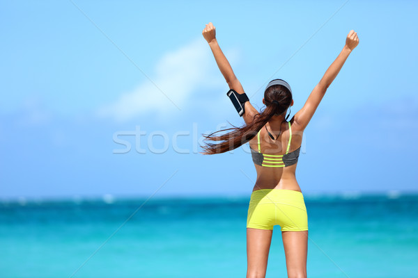 Fitness fit woman success winning weight loss goal Stock photo © Maridav