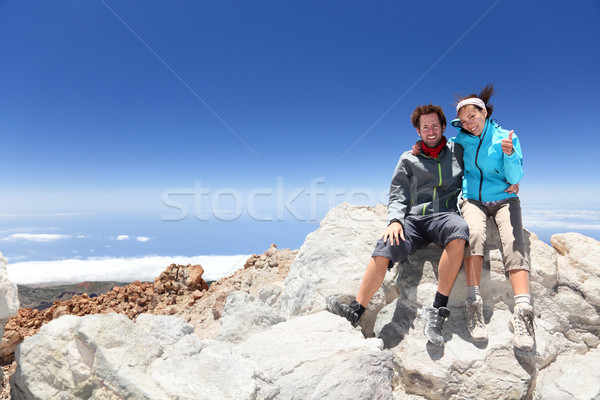 People on mountain top hiking Stock photo © Maridav
